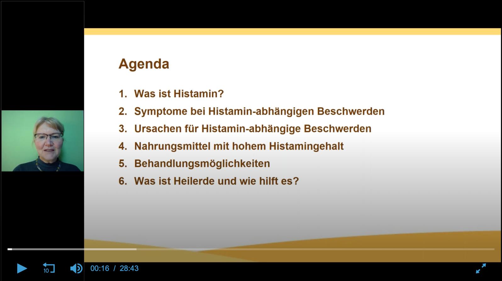 Screenshot Webinar Histamin-abhängige Beschwerden in Zusammenarbeit mit Luvos Heilerde
